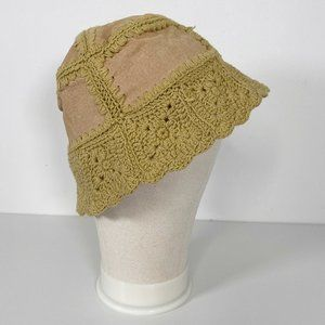 Vintage Leather Patchwork and Crochet Bucket Hat